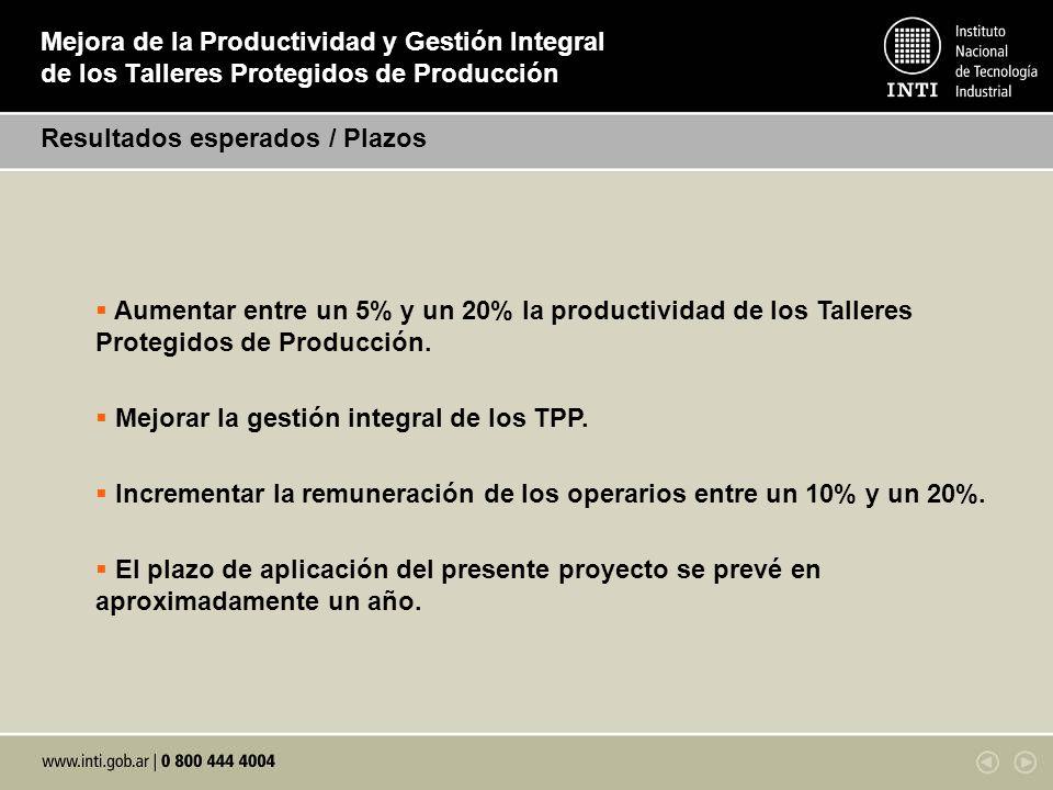 Mejora de la Productividad y Gestión Integral de los Talleres Protegidos de Producción Resultados esperados / Plazos Aumentar entre un 5% y un 20% la