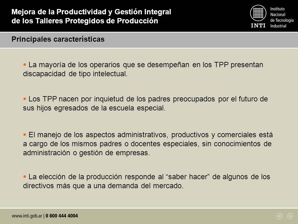 Mejora de la Productividad y Gestión Integral de los Talleres Protegidos de Producción Principales características La mayoría de los operarios que se