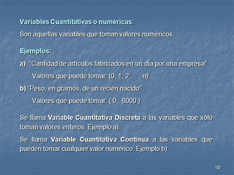 10 Variables Cuantitativas o numéricas: Son aquellas variables que toman valores numéricos. Ejemplos: a) Cantidad de artículos fabricados en un día po