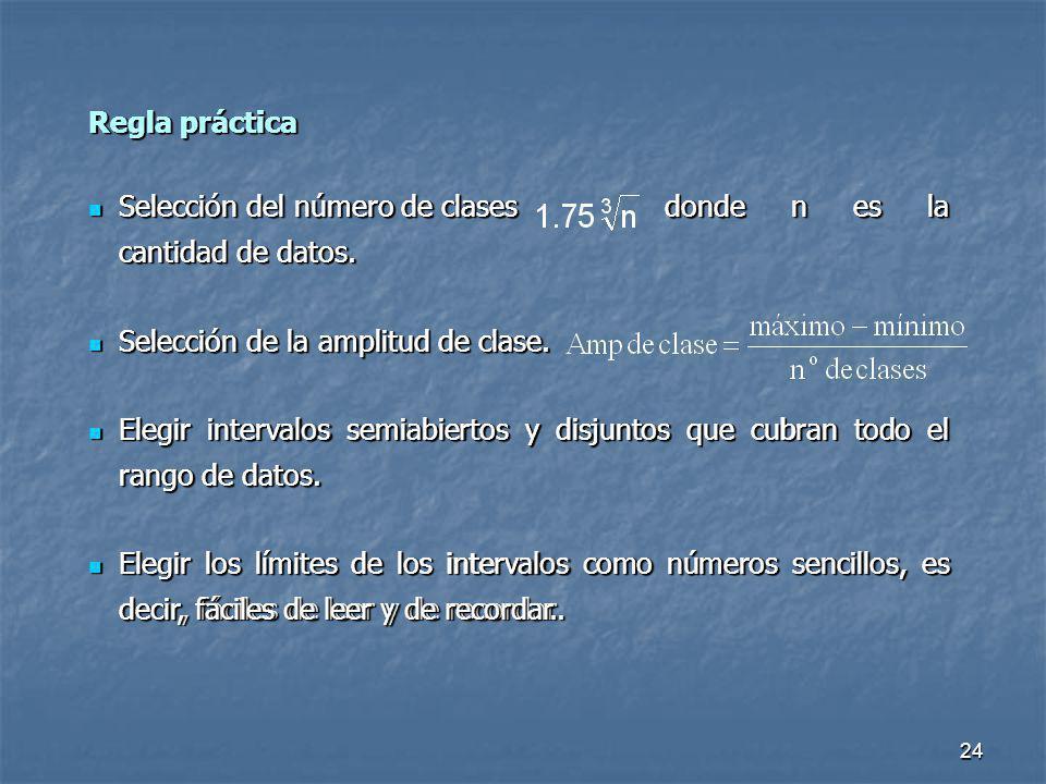 24 Regla práctica Selección del número de clases donde n es la cantidad de datos. Selección del número de clases donde n es la cantidad de datos. Sele