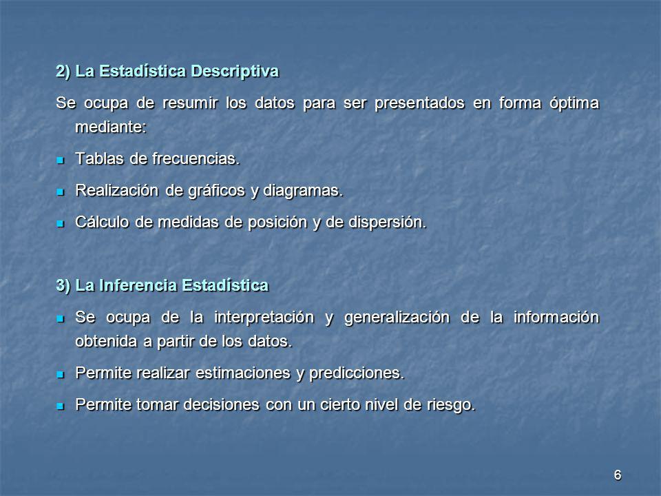 6 2) La Estadística Descriptiva Se ocupa de resumir los datos para ser presentados en forma óptima mediante: Tablas de frecuencias. Tablas de frecuenc