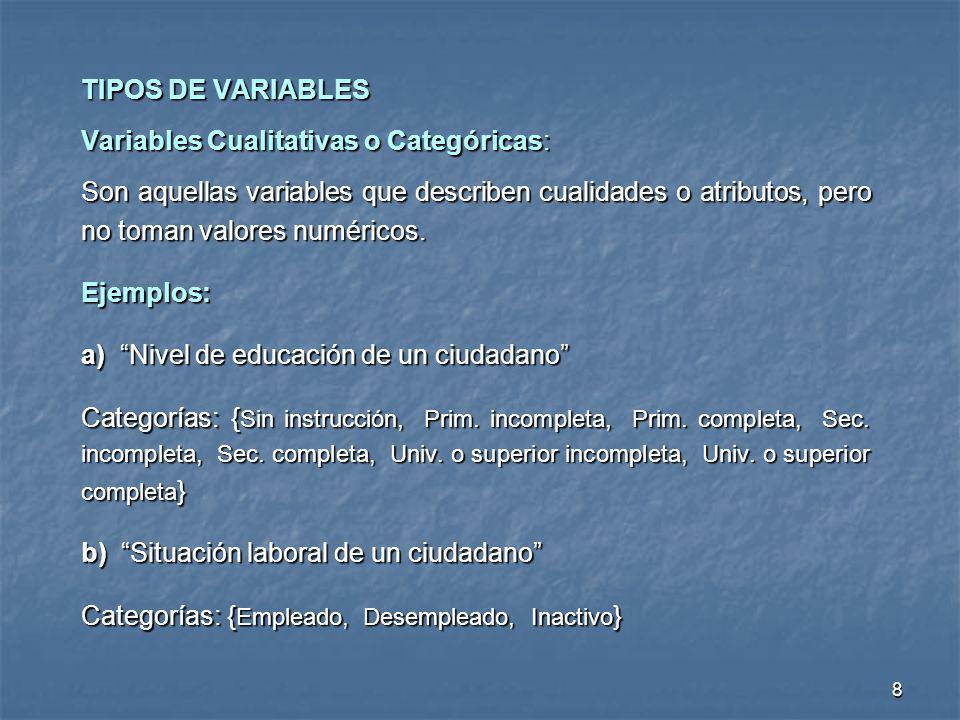 8 TIPOS DE VARIABLES Variables Cualitativas o Categóricas: Son aquellas variables que describen cualidades o atributos, pero no toman valores numérico