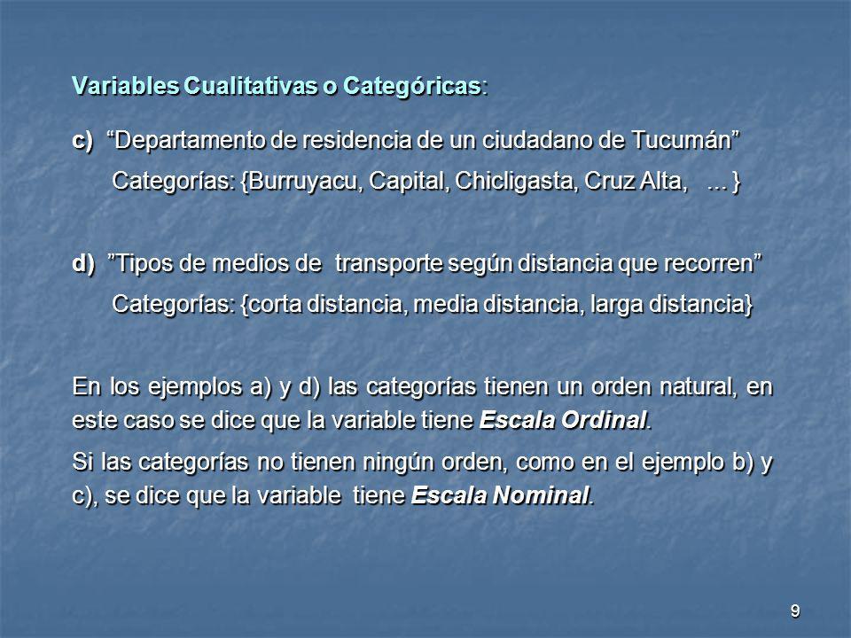 9 Variables Cualitativas o Categóricas: c) Departamento de residencia de un ciudadano de Tucumán Categorías: {Burruyacu, Capital, Chicligasta, Cruz Al