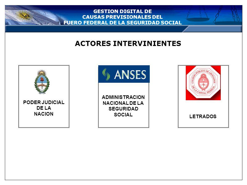 GESTION DIGITAL DE CAUSAS PREVISIONALES DEL FUERO FEDERAL DE LA SEGURIDAD SOCIAL CONVENIO ENTRE LA ADMINISTRACION NACIONAL DE LA SEGURIDAD SOCIAL, LA