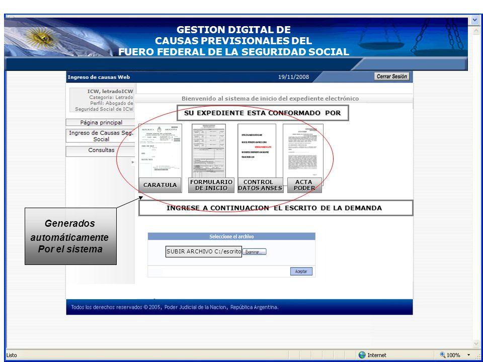 Bienvenido al sistema de inicio del expediente electrónico CARATULA FORMULARIO DE INICIO CONSTANCIA DE CUIL CONTROL DATOS ANSES DOCUMENTAL ACTAPODER E