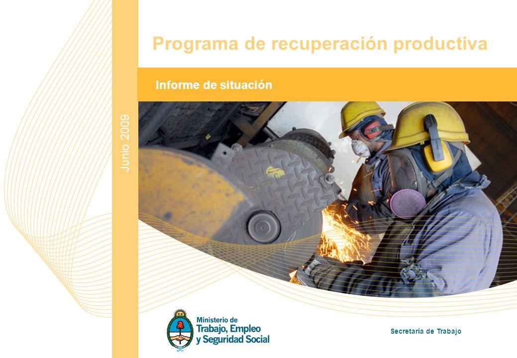 1 Junio 2009 Informe de situación Programa de recuperación productiva Secretaría de Trabajo