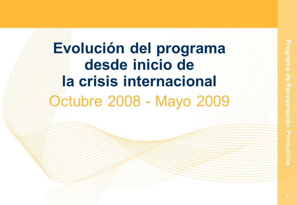 Programa de Recuperación Productiva 7 Evolución del programa desde inicio de la crisis internacional Octubre 2008 - Mayo 2009