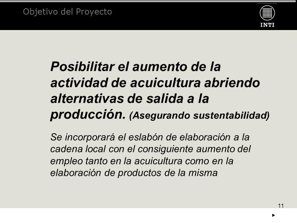 11 Objetivo del Proyecto Posibilitar el aumento de la actividad de acuicultura abriendo alternativas de salida a la producción. (Asegurando sustentabi
