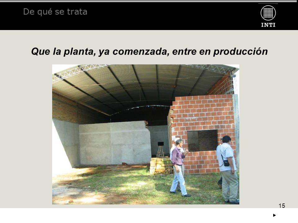 15 De qu é se trata Que la planta, ya comenzada, entre en producción