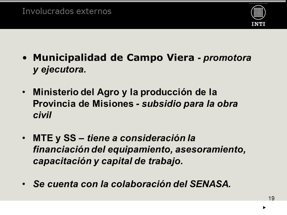 19 Municipalidad de Campo Viera - promotora y ejecutora. Ministerio del Agro y la producción de la Provincia de Misiones - subsidio para la obra civil