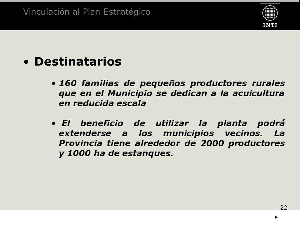 22 Destinatarios 160 familias de pequeños productores rurales que en el Municipio se dedican a la acuicultura en reducida escala El beneficio de utili