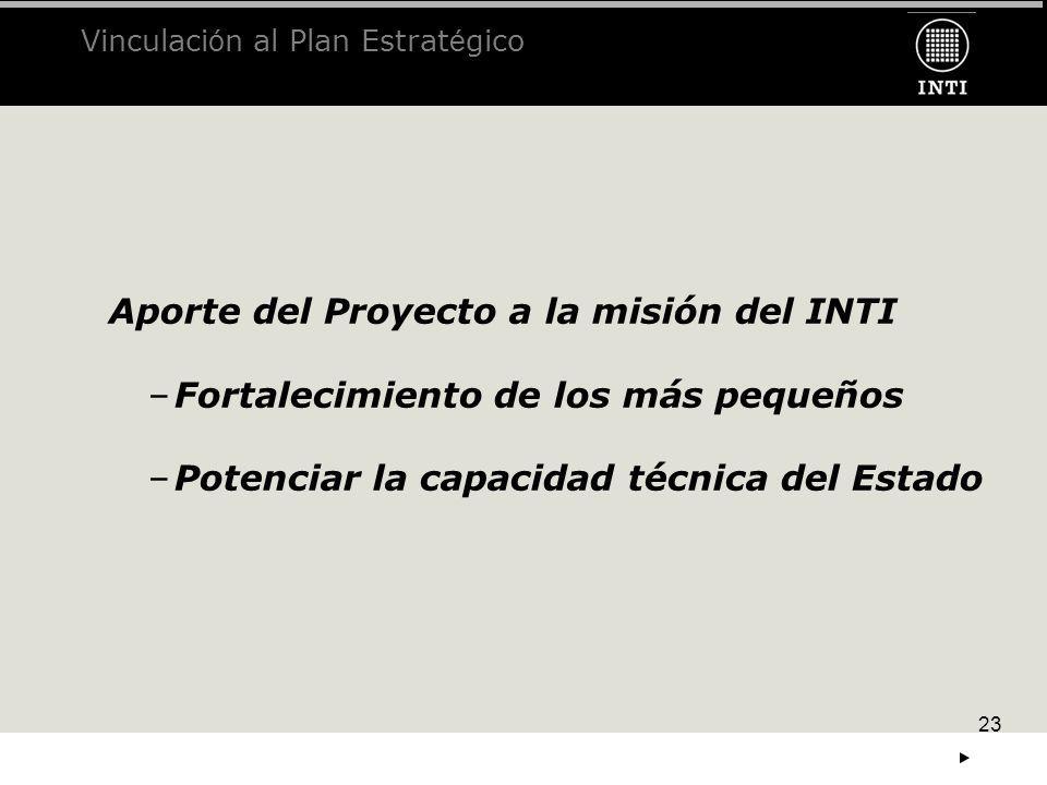 23 Aporte del Proyecto a la misión del INTI –Fortalecimiento de los más pequeños –Potenciar la capacidad técnica del Estado Vinculaci ó n al Plan Estr