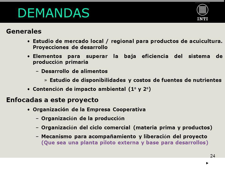 24 Generales Estudio de mercado local / regional para productos de acuicultura. Proyecciones de desarrollo Elementos para superar la baja eficiencia d
