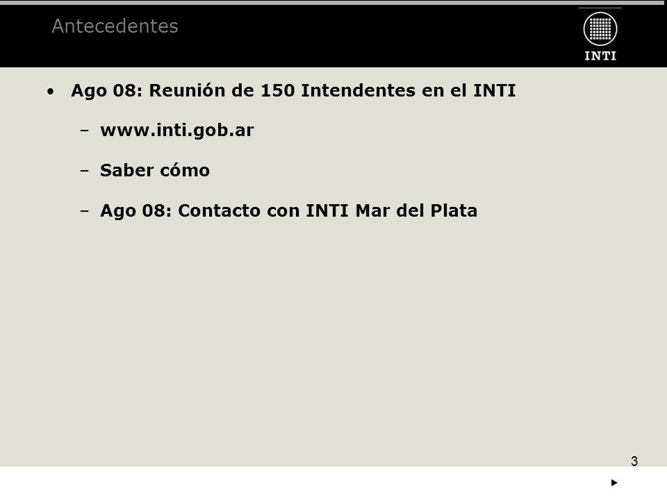3 Antecedentes Ago 08: Reunión de 150 Intendentes en el INTI –www.inti.gob.ar......... –Saber cómo –Ago 08: Contacto con INTI Mar del Plata