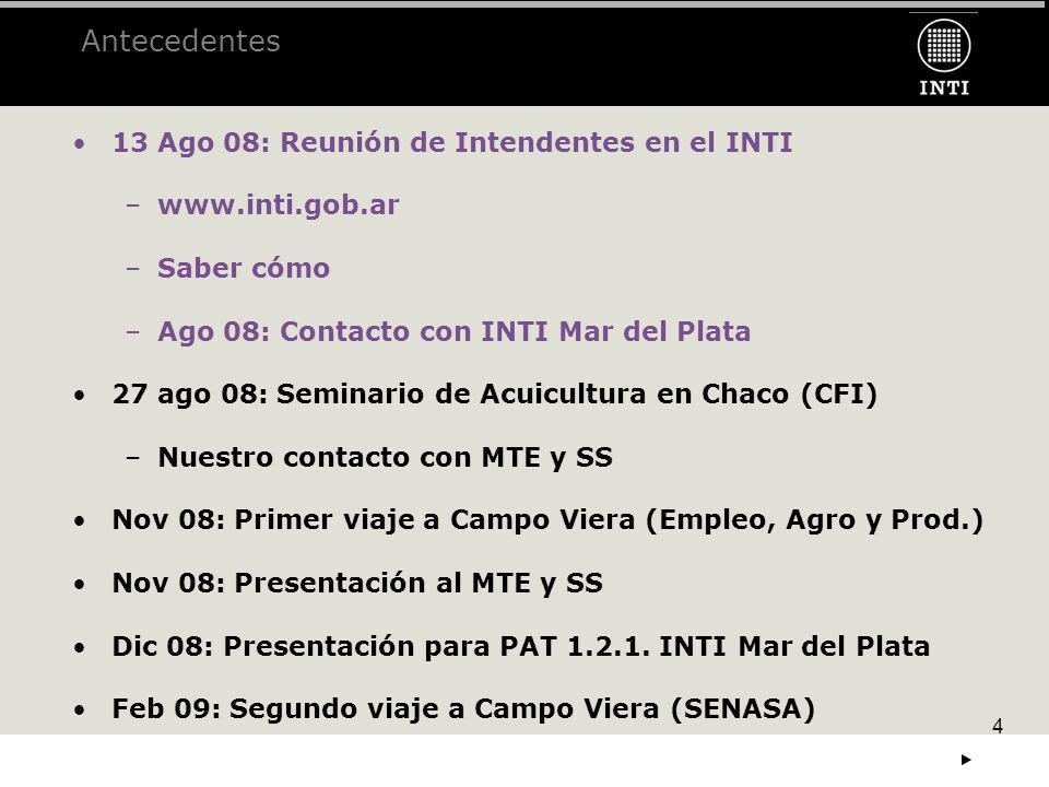 4 Antecedentes 13 Ago 08: Reunión de Intendentes en el INTI –www.inti.gob.ar......... –Saber cómo –Ago 08: Contacto con INTI Mar del Plata 27 ago 08: