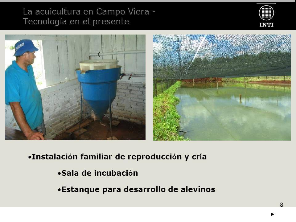 8 La acuicultura en Campo Viera - Tecnolog í a en el presente Instalaci ó n familiar de reproducci ó n y cr í a Sala de incubaci ó n Estanque para des