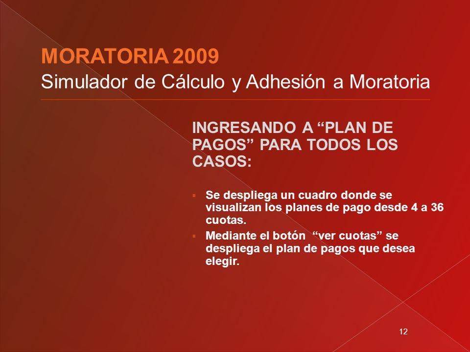 12 INGRESANDO A PLAN DE PAGOS PARA TODOS LOS CASOS: Se despliega un cuadro donde se visualizan los planes de pago desde 4 a 36 cuotas. Mediante el bot
