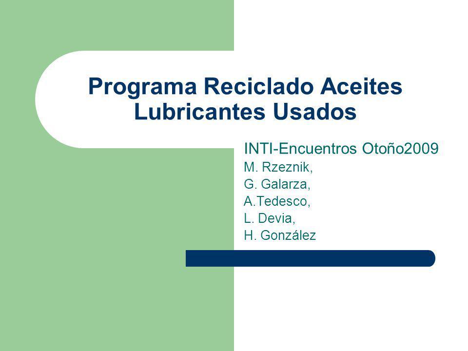Programa Reciclado Aceites Lubricantes Usados INTI-Encuentros Otoño2009 M. Rzeznik, G. Galarza, A.Tedesco, L. Devia, H. González