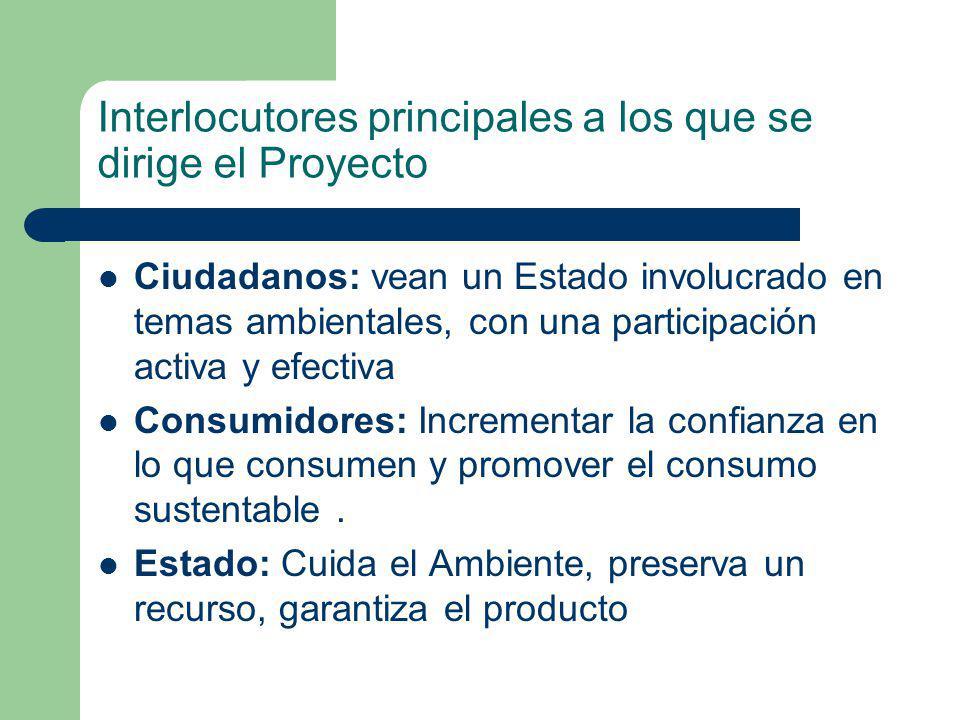 Interlocutores principales a los que se dirige el Proyecto Ciudadanos: vean un Estado involucrado en temas ambientales, con una participación activa y efectiva Consumidores: Incrementar la confianza en lo que consumen y promover el consumo sustentable.