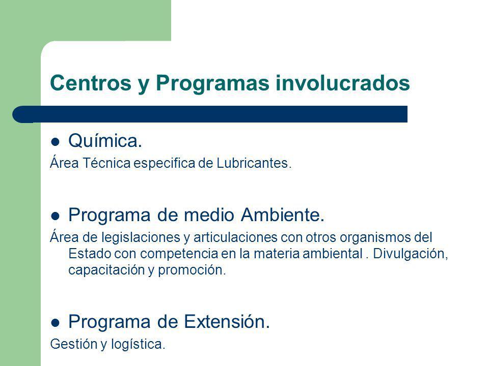 Centros y Programas involucrados Química. Área Técnica especifica de Lubricantes. Programa de medio Ambiente. Área de legislaciones y articulaciones c