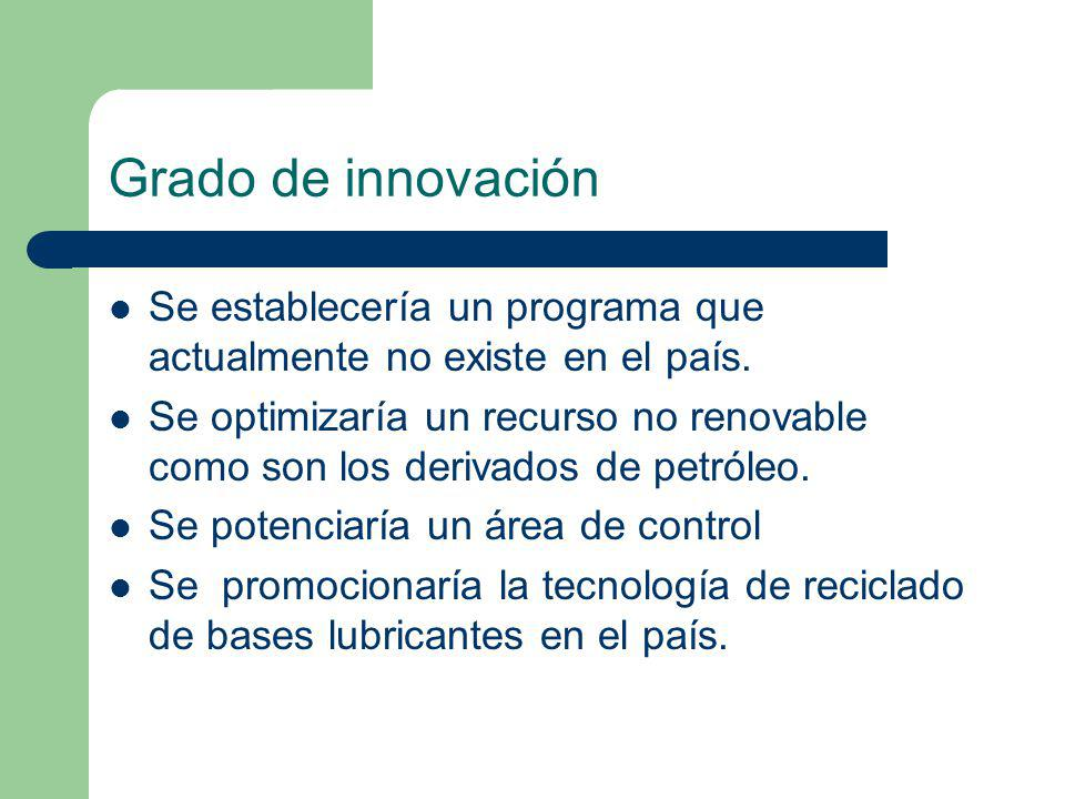 Grado de innovación Se establecería un programa que actualmente no existe en el país. Se optimizaría un recurso no renovable como son los derivados de