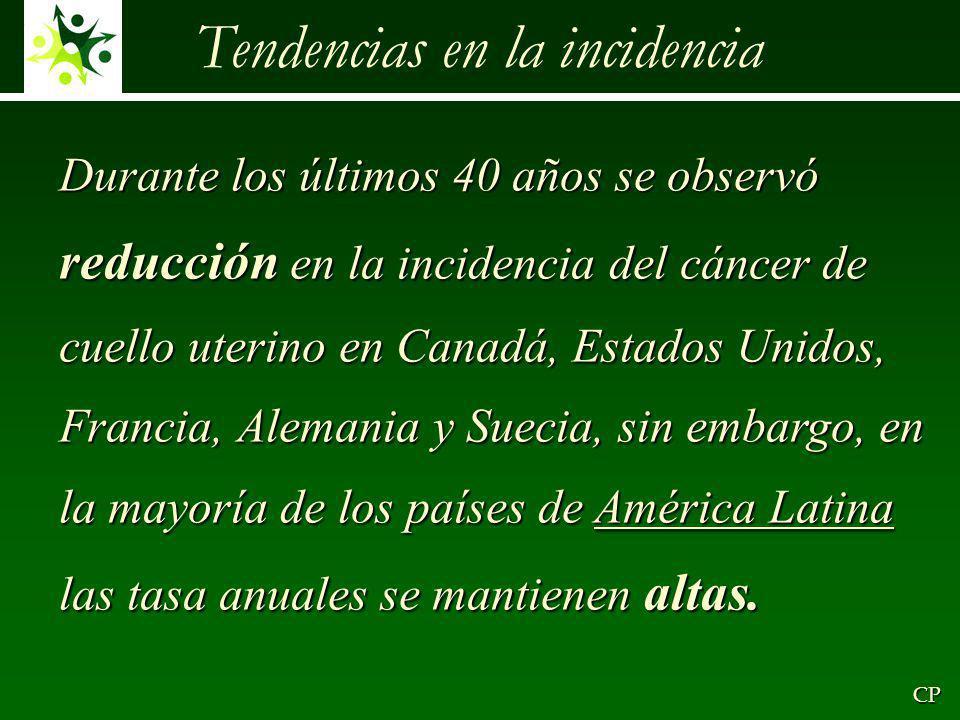 Tendencias en la incidencia CP Durante los últimos 40 años se observó reducción en la incidencia del cáncer de cuello uterino en Canadá, Estados Unidos, Francia, Alemania y Suecia, sin embargo, en la mayoría de los países de América Latina las tasa anuales se mantienen altas.