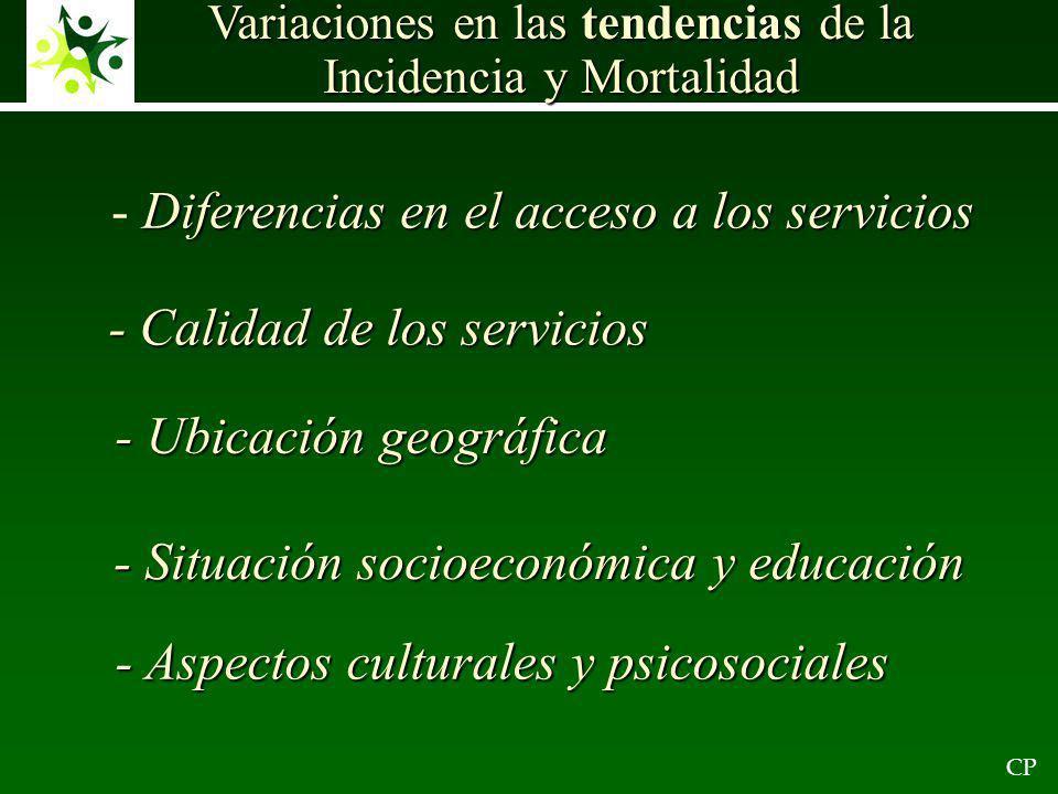 CP Variaciones en las tendencias de la Incidencia y Mortalidad Diferencias en el acceso a los servicios - Diferencias en el acceso a los servicios - Calidad de los servicios - Ubicación geográfica - Situación socioeconómica y educación - Aspectos culturales y psicosociales