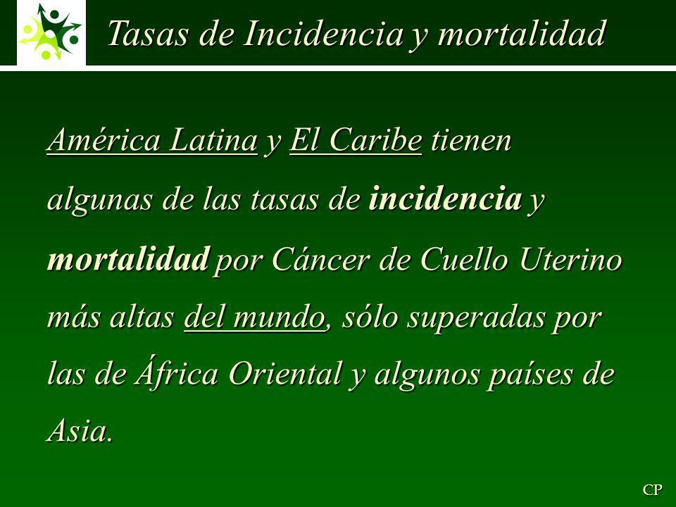 América Latina y El Caribe tienen algunas de las tasas de incidencia y mortalidad por Cáncer de Cuello Uterino más altas del mundo, sólo superadas por las de África Oriental y algunos países de Asia.