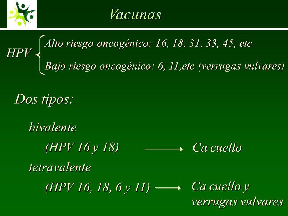 Vacunas bivalente bivalente (HPV 16 y 18) (HPV 16 y 18) tetravalente tetravalente (HPV 16, 18, 6 y 11) (HPV 16, 18, 6 y 11) Ca cuello y verrugas vulvares Ca cuello Alto riesgo oncogénico: 16, 18, 31, 33, 45, etc Bajo riesgo oncogénico: 6, 11,etc (verrugas vulvares) HPV Dos tipos: