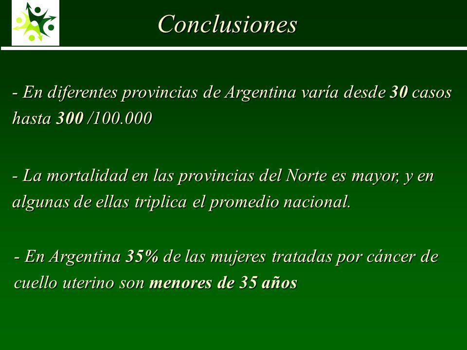 - En diferentes provincias de Argentina varía desde 30 casos hasta 300 /100.000 Conclusiones - La mortalidad en las provincias del Norte es mayor, y en algunas de ellas triplica el promedio nacional.