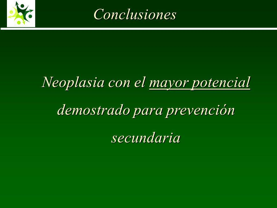 Neoplasia con el mayor potencial demostrado para prevención secundaria Conclusiones
