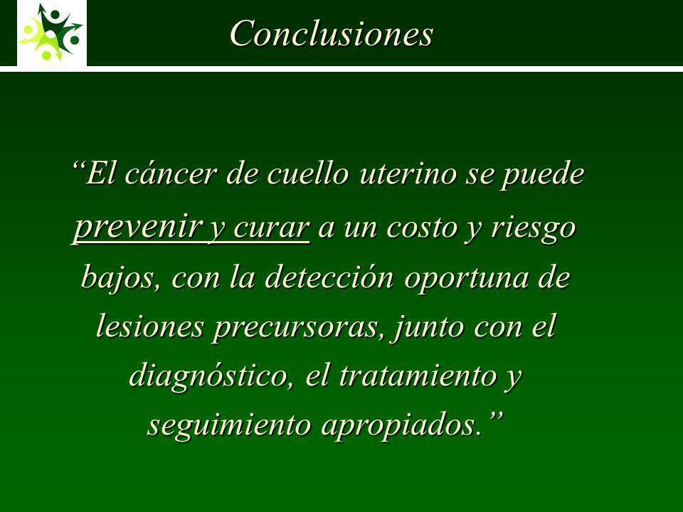 Conclusiones El cáncer de cuello uterino se puede prevenir y curar a un costo y riesgo bajos, con la detección oportuna de lesiones precursoras, junto con el diagnóstico, el tratamiento y seguimiento apropiados.