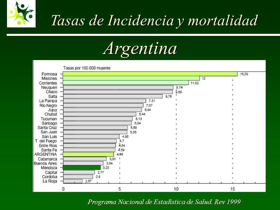 Argentina Tasas de Incidencia y mortalidad Programa Nacional de Estadística de Salud. Rev 1999