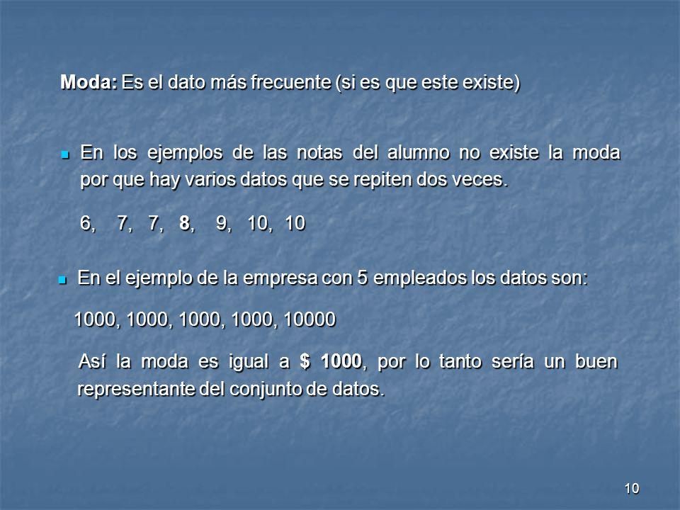 10 En el ejemplo de la empresa con 5 empleados los datos son: En el ejemplo de la empresa con 5 empleados los datos son: 1000, 1000, 1000, 1000, 10000
