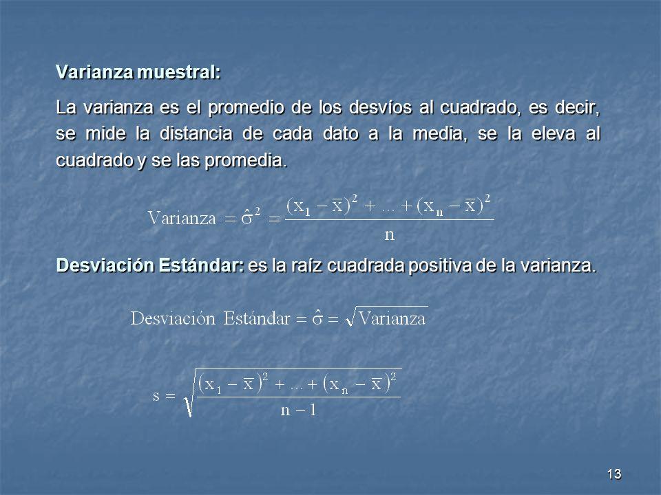 13 Varianza muestral: La varianza es el promedio de los desvíos al cuadrado, es decir, se mide la distancia de cada dato a la media, se la eleva al cu