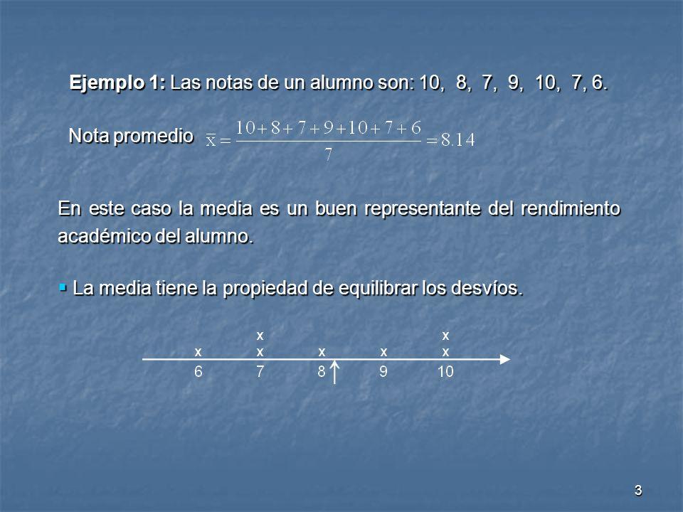3 Ejemplo 1: Las notas de un alumno son: 10, 8, 7, 9, 10, 7, 6. Nota promedio Nota promedio En este caso la media es un buen representante del rendimi