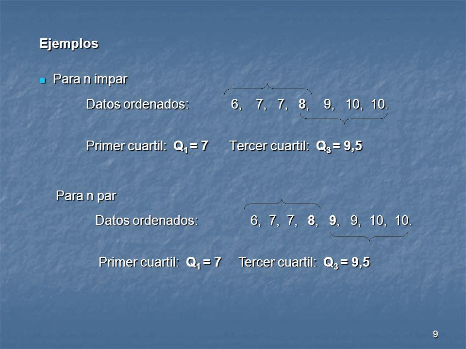 9 Ejemplos Para n impar Para n impar Datos ordenados: 6, 7, 7, 8, 9, 10, 10. Primer cuartil: Q 1 = 7 Tercer cuartil: Q 3 = 9,5 Para n par Para n par D