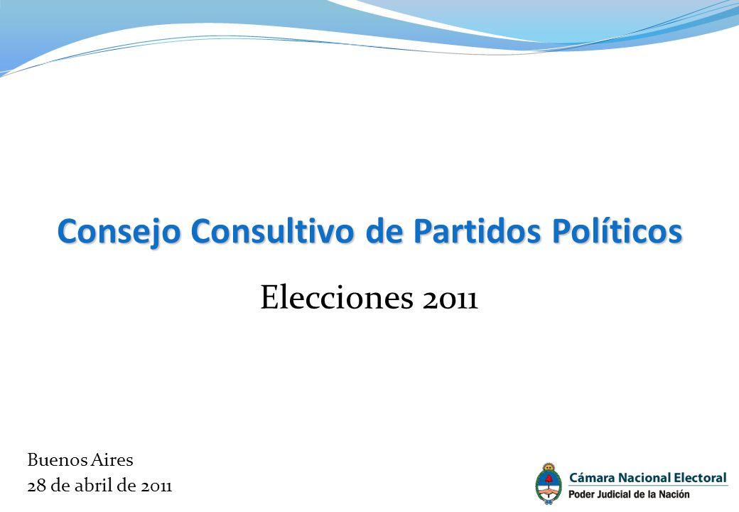 Consejo Consultivo de Partidos Políticos Elecciones 2011 Buenos Aires 28 de abril de 2011