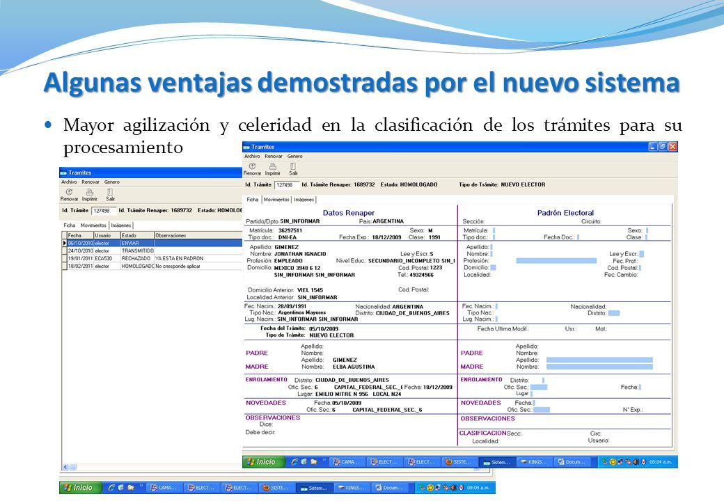 Algunas ventajas demostradas por el nuevo sistema Mayor agilización y celeridad en la clasificación de los trámites para su procesamiento