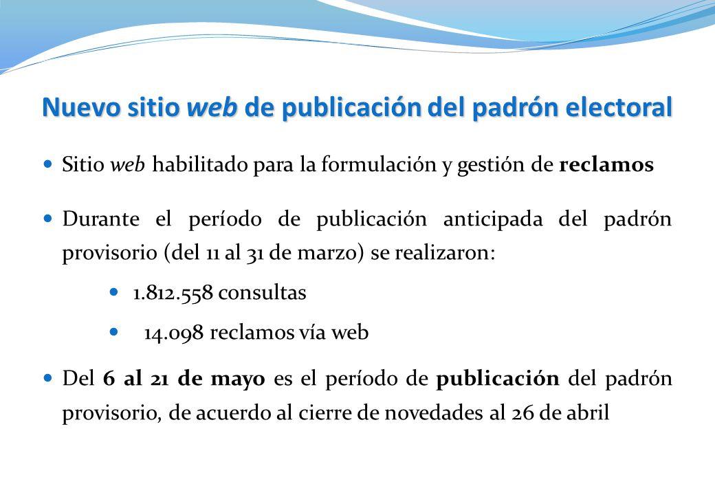 Sitio web habilitado para la formulación y gestión de reclamos Nuevo sitio web de publicación del padrón electoral Durante el período de publicación a