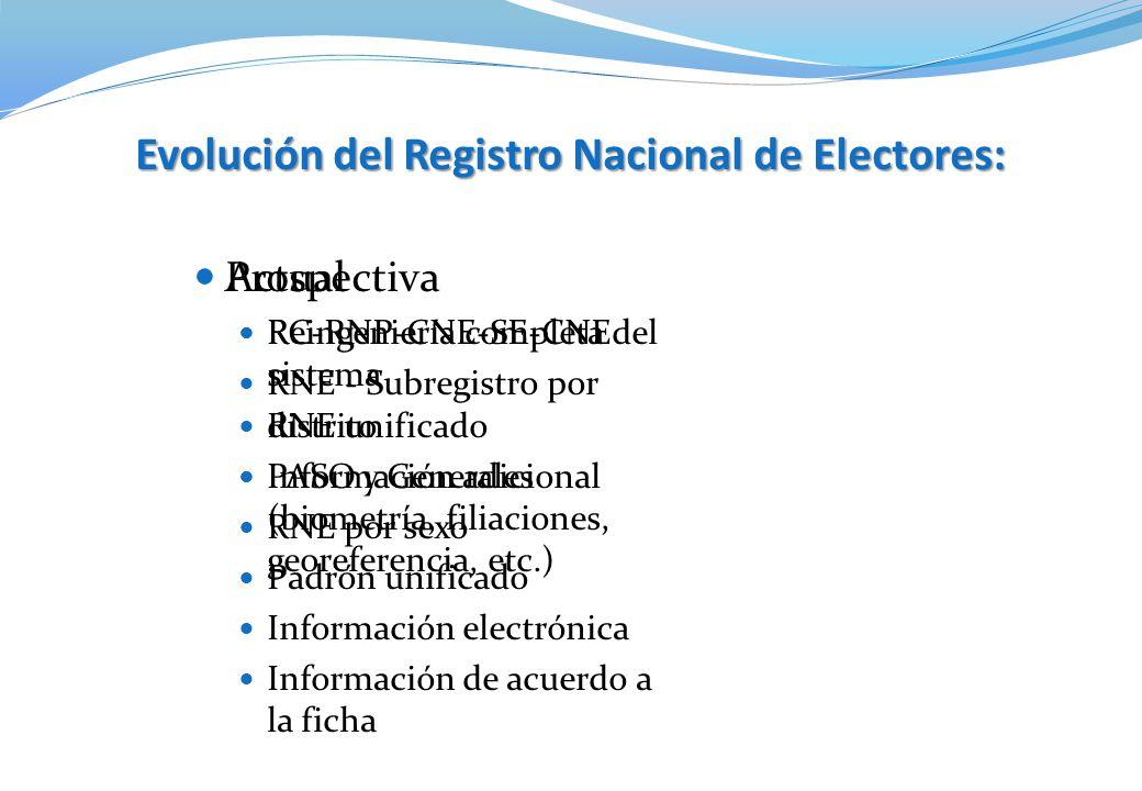 Actual RC-RNP-CNE-SE-CNE RNE - Subregistro por distrito PASO y Generales RNE por sexo Padrón unificado Información electrónica Información de acuerdo
