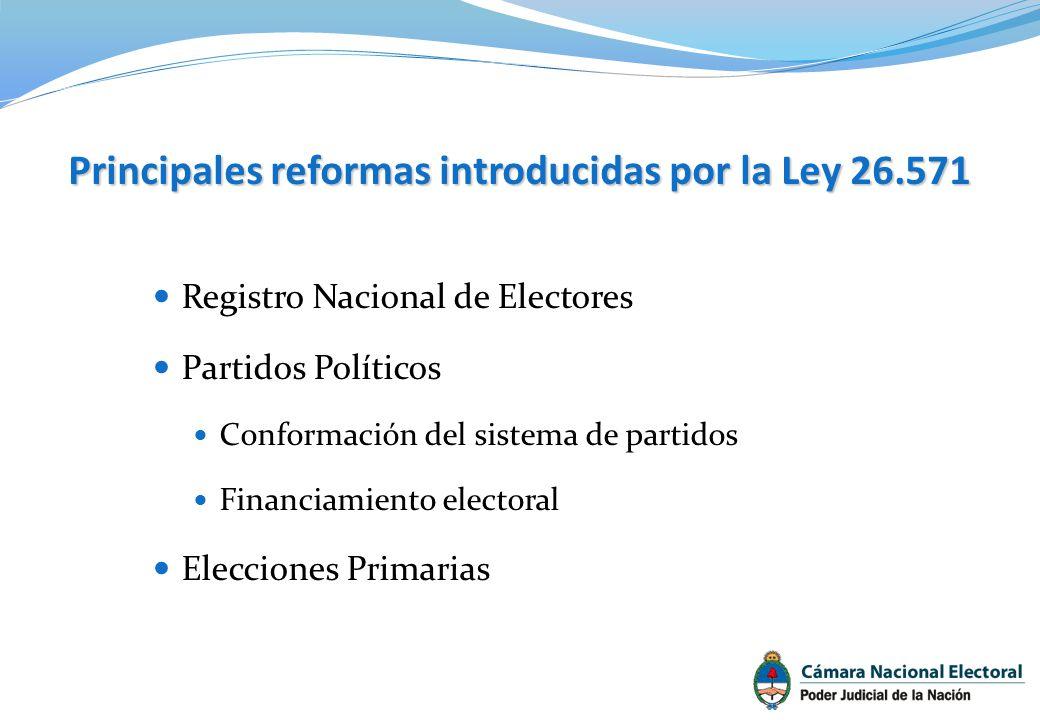 Principales reformas introducidas por la Ley 26.571 Registro Nacional de Electores Partidos Políticos Conformación del sistema de partidos Financiamie