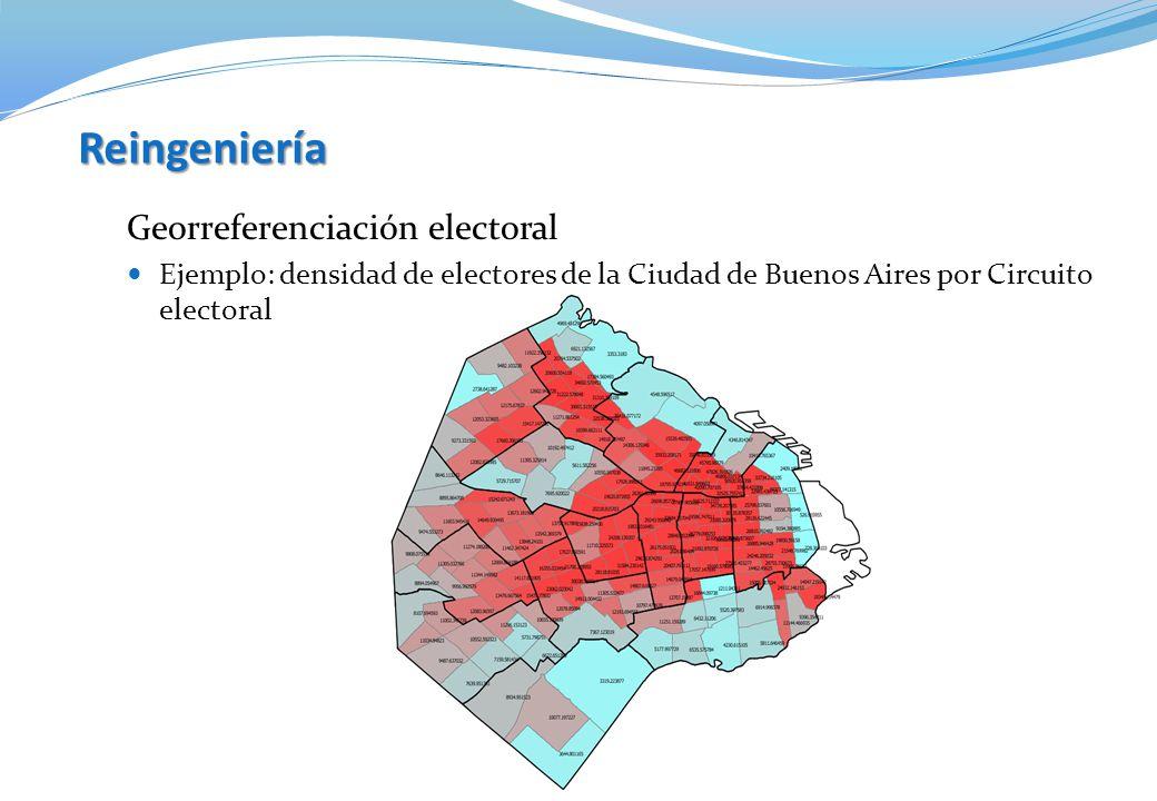 Reingeniería Georreferenciación electoral Ejemplo: densidad de electores de la Ciudad de Buenos Aires por Circuito electoral