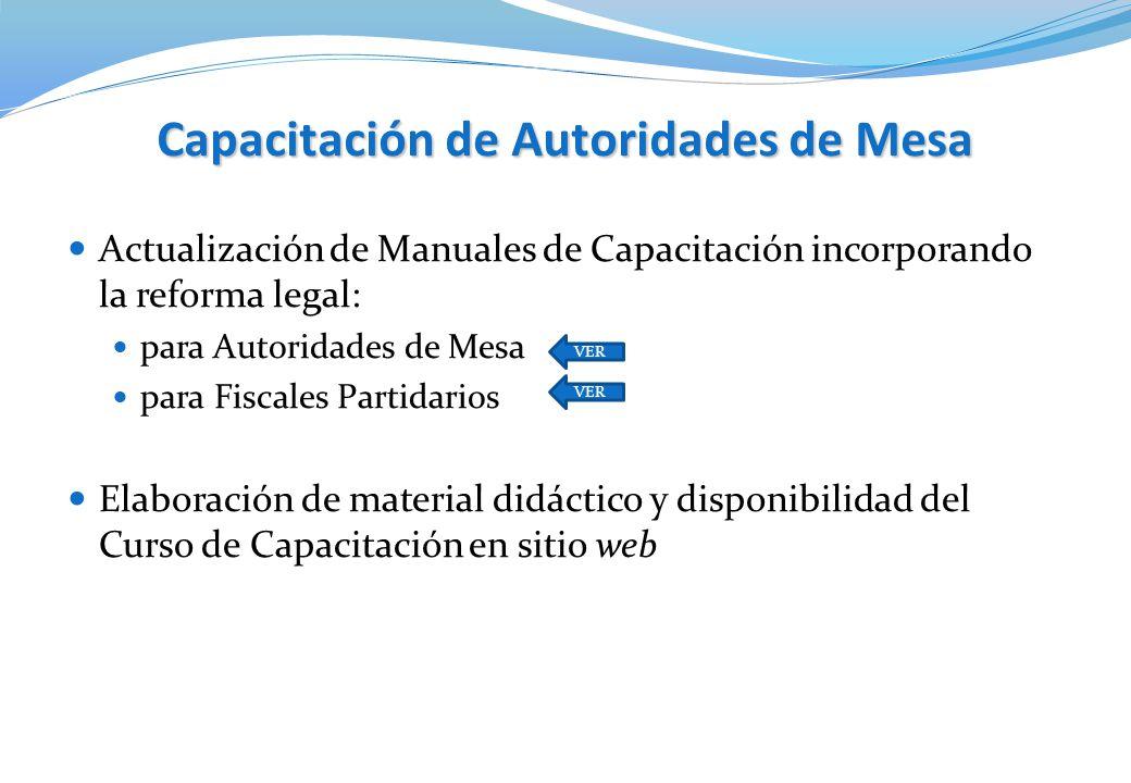 Capacitación de Autoridades de Mesa Actualización de Manuales de Capacitación incorporando la reforma legal: para Autoridades de Mesa para Fiscales Pa