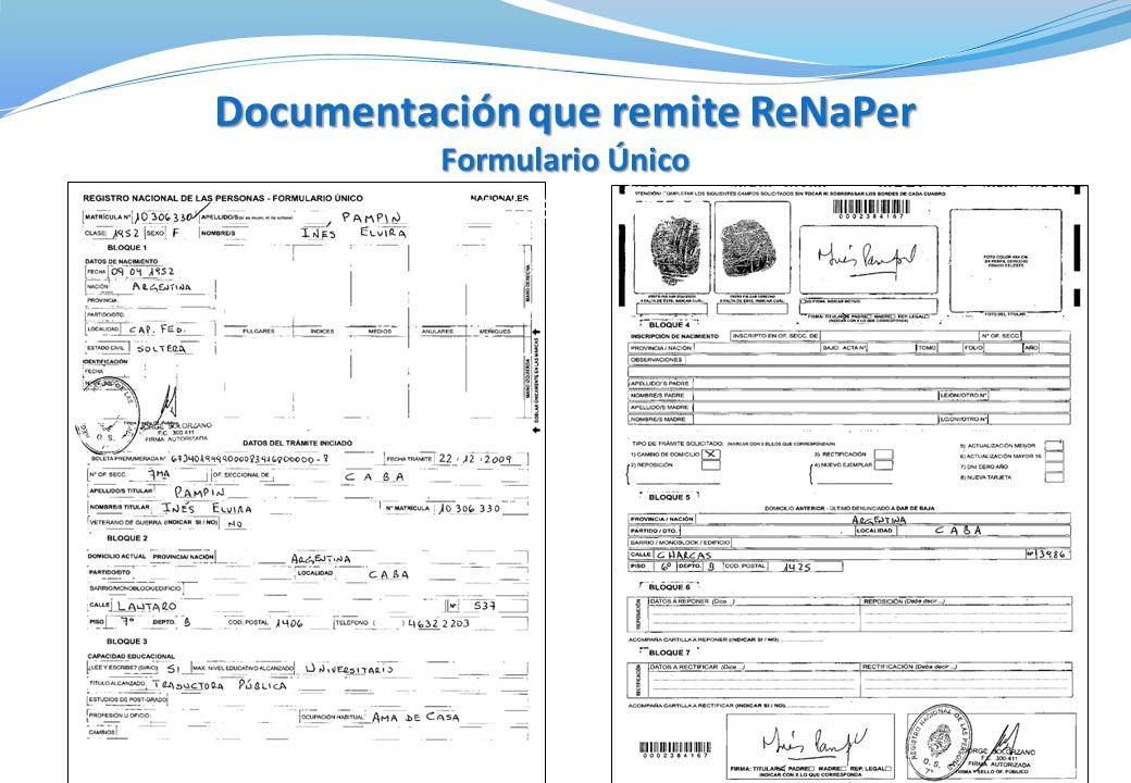 Documentación que remite ReNaPer Formulario Único Documentación que remite ReNaPer Formulario Único Formulario Único