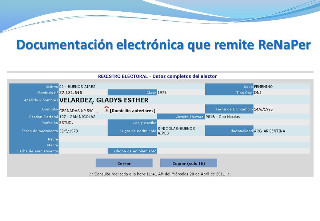 Documentación electrónica que remite ReNaPer
