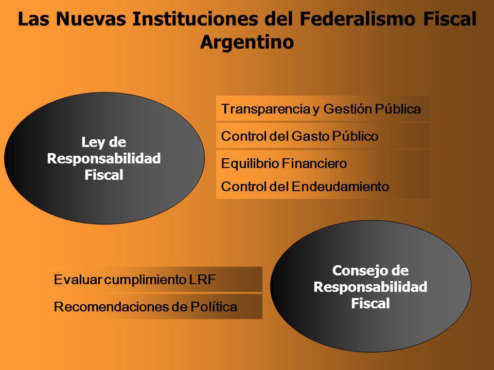 Las Nuevas Instituciones del Federalismo Fiscal Argentino Transparencia y Gestión Pública Control del Gasto Público Ley de Responsabilidad Fiscal Equilibrio Financiero Control del Endeudamiento Evaluar cumplimiento LRF Recomendaciones de Política Consejo de Responsabilidad Fiscal