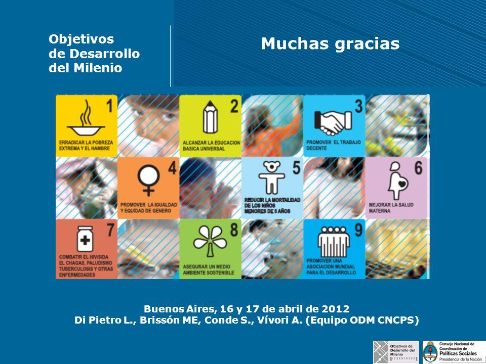 Buenos Aires, 16 y 17 de abril de 2012 Di Pietro L., Brissón ME, Conde S., Vívori A. (Equipo ODM CNCPS) Objetivos de Desarrollo del Milenio Muchas gra