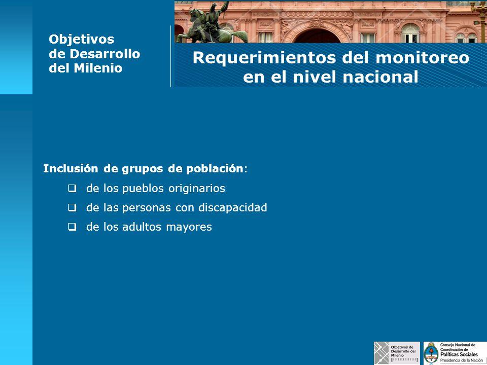 Inclusión de grupos de población: de los pueblos originarios de las personas con discapacidad de los adultos mayores Objetivos de Desarrollo del Milen