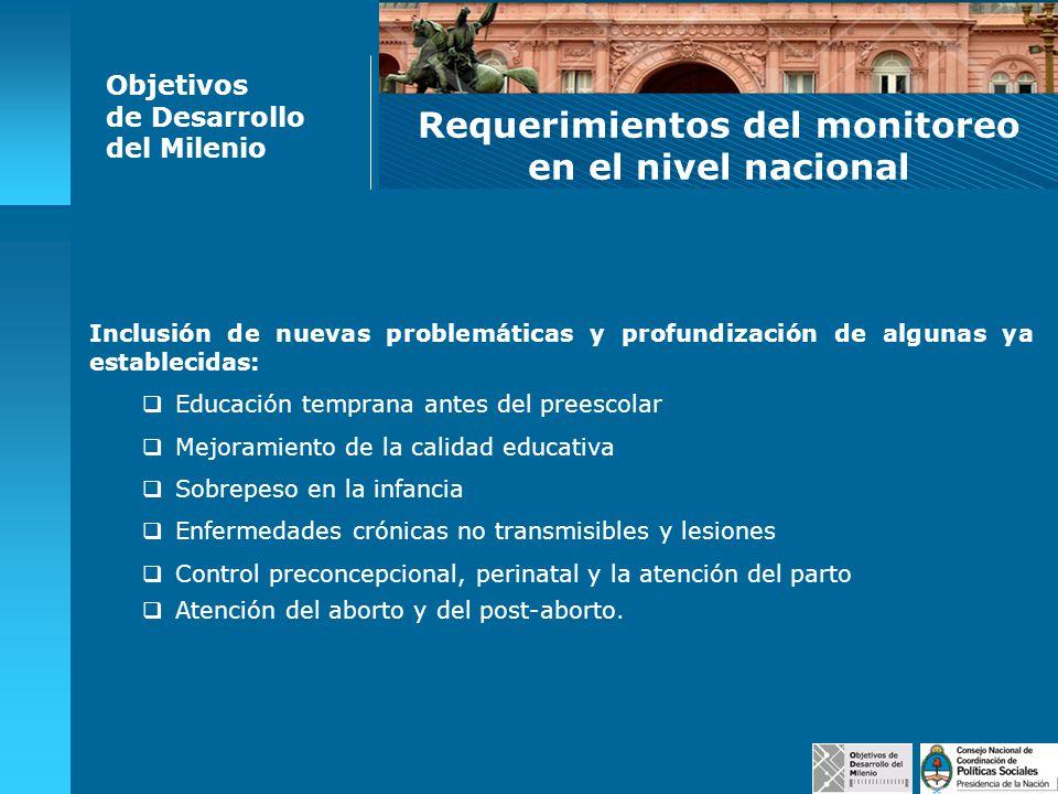 Objetivos de Desarrollo del Milenio Requerimientos del monitoreo en el nivel nacional Inclusión de nuevas problemáticas y profundización de algunas ya